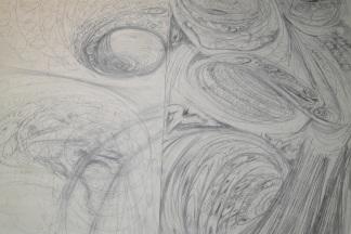ritual work, Jani-Petteri 28.7.2016, charcoal on paper, 500x200cm
