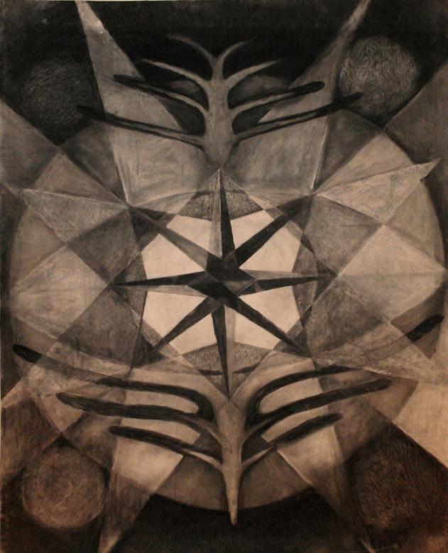 Jatulintarha, hiili paperille, 2 x 1.5m