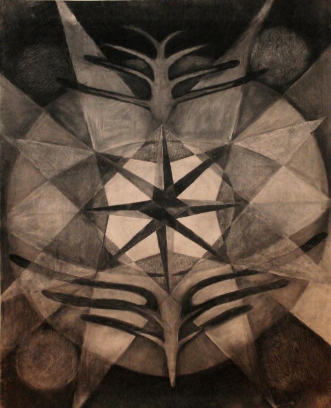 Jatulintarha, hiili paperille, 2x1.5m