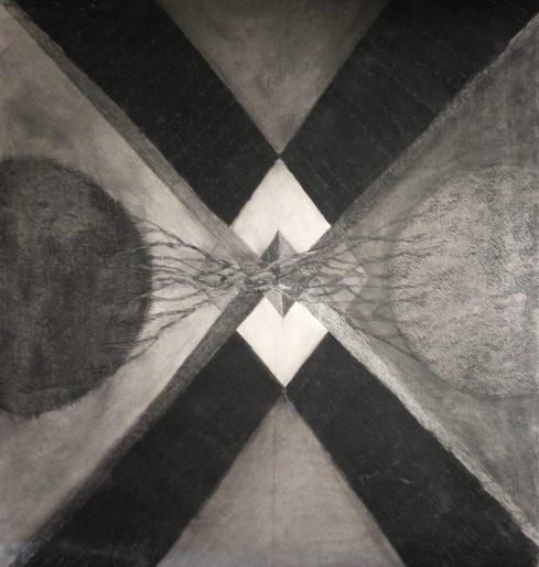 Luomistyö, hiili paperille, n. 1.5x2m, 2017