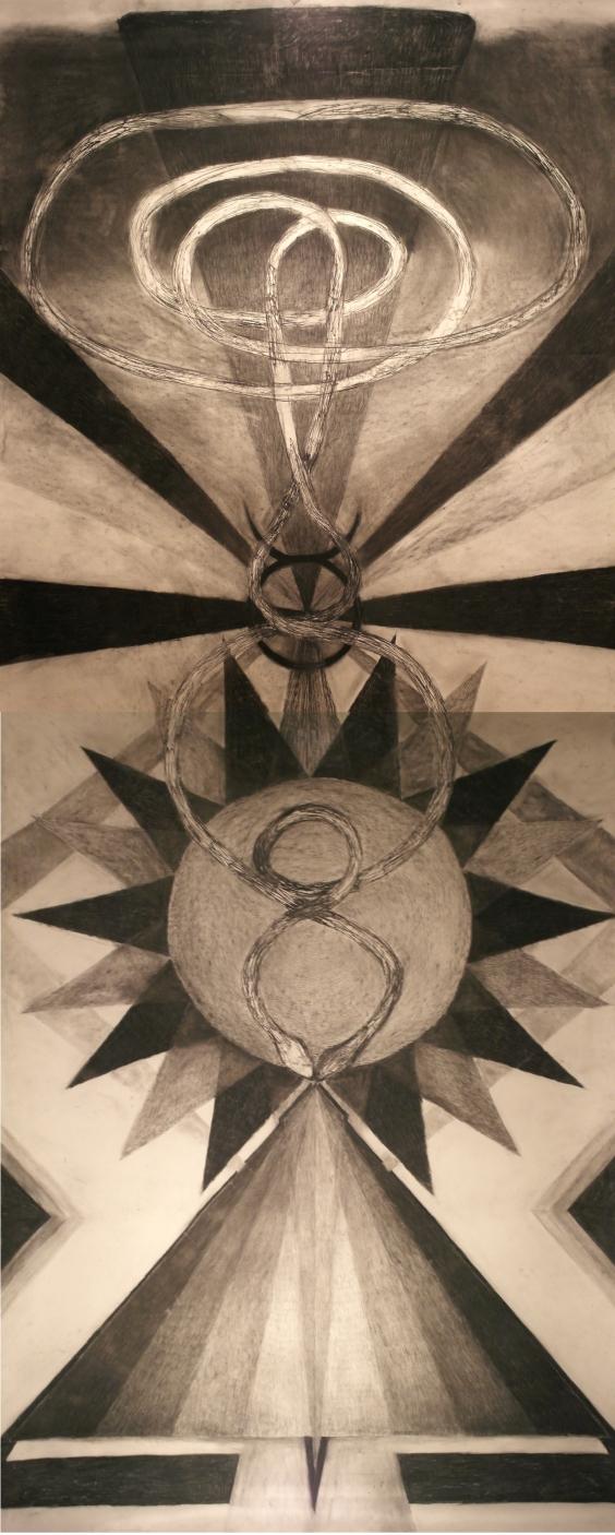 Jumala, hiili paperille, n. 4x1.5m, 2016