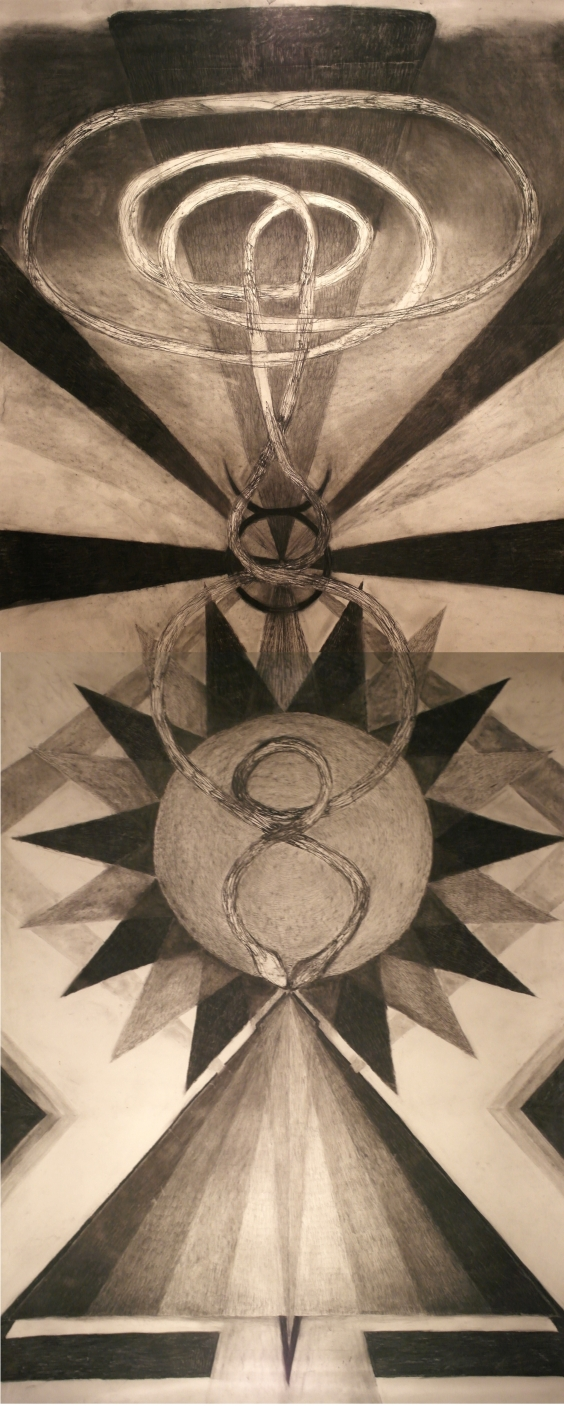 Kultainen kuningas, hiili paperille, 4 x 1.5m