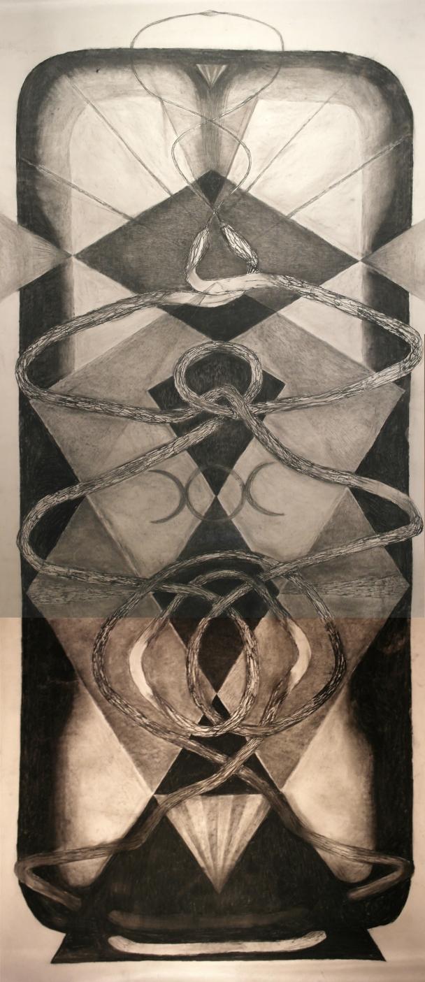 Kuutar, hiili paperille, 3.8 x 1.5m
